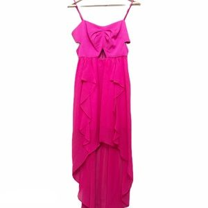 BCBGeneration Pink Cut Out High Low Cocktail Dress